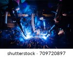 welding robots movement in a... | Shutterstock . vector #709720897
