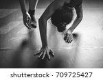 Small photo of Contemporary dancers doing parter contact improvisation on the floor, Body parts.