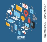 internet service infographic | Shutterstock .eps vector #709725487