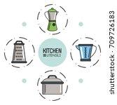 kitchen utensils infographic | Shutterstock .eps vector #709726183