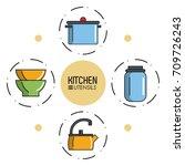 kitchen utensils infographic | Shutterstock .eps vector #709726243