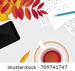 workspace desk with autumn... | Shutterstock .eps vector #709741747