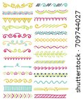 hand drawn set of doodle border ... | Shutterstock .eps vector #709744027