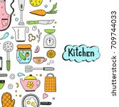 hand drawn doodle template with ... | Shutterstock .eps vector #709744033