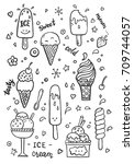 hand drawn set of doodle with... | Shutterstock .eps vector #709744057