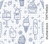 hand drawn doodle seamless... | Shutterstock .eps vector #709744063