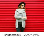 fashion autumn portrait woman... | Shutterstock . vector #709746943