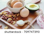 keto  ketogenic diet  low carb  ... | Shutterstock . vector #709747393