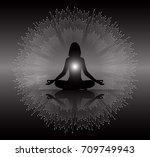 woman meditate abstract radius... | Shutterstock .eps vector #709749943