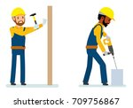 set of male construction worker ... | Shutterstock .eps vector #709756867