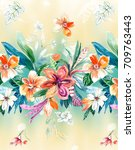 flowers carry the scent of... | Shutterstock . vector #709763443