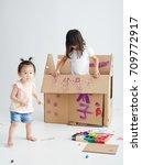 asian children were painting... | Shutterstock . vector #709772917