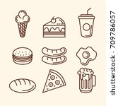 delicious fast food icons | Shutterstock .eps vector #709786057