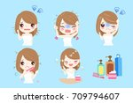 woman with hair problem before... | Shutterstock .eps vector #709794607