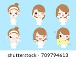 beauty cartoon skin care woman... | Shutterstock .eps vector #709794613