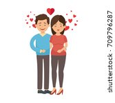 cute couple in love with heart   Shutterstock .eps vector #709796287