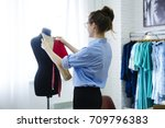 back view of successful fashion ... | Shutterstock . vector #709796383