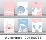 set of greeting card and... | Shutterstock .eps vector #709800793