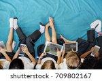 group of diverse kindergarten... | Shutterstock . vector #709802167