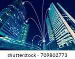 smart city and internet line in ... | Shutterstock . vector #709802773