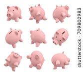 3d rendering of many piggy... | Shutterstock . vector #709802983
