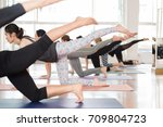 group asian women stretching... | Shutterstock . vector #709804723