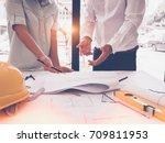 image of engineer meeting for... | Shutterstock . vector #709811953