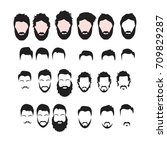 hipster vector set  hair and... | Shutterstock .eps vector #709829287