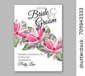 magnolia flowers for bridal... | Shutterstock .eps vector #709843333