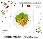 portuguese cuisine. european... | Shutterstock .eps vector #709857367