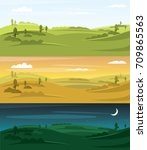 fields landscape vector... | Shutterstock .eps vector #709865563
