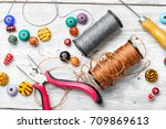 set of multicolored beads for... | Shutterstock . vector #709869613