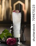 Small photo of Rose cocktail in luxury ambiance side view