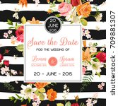 wedding invitation template.... | Shutterstock .eps vector #709881307