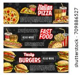 fast food burgers and... | Shutterstock .eps vector #709886527