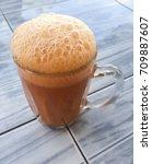 teh tarik  pulled tea  is a hot ... | Shutterstock . vector #709887607