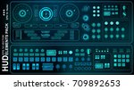 futuristic blue virtual graphic ... | Shutterstock .eps vector #709892653
