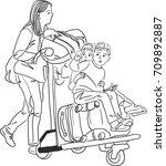 vector art drawing of mother...   Shutterstock .eps vector #709892887