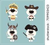 set isolated polar bear in... | Shutterstock .eps vector #709903423