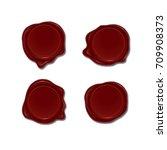 wax seal set. vector design... | Shutterstock .eps vector #709908373