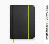 realistic black notebook with... | Shutterstock . vector #709917337