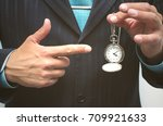 business man showing by finger... | Shutterstock . vector #709921633