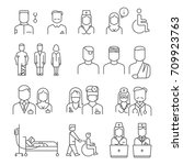 hospital staff thin line icons... | Shutterstock .eps vector #709923763