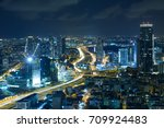 tel aviv skyline at night ... | Shutterstock . vector #709924483