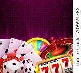 casino dice banner signboard on ... | Shutterstock .eps vector #709924783