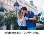 romantic couple | Shutterstock . vector #709943983