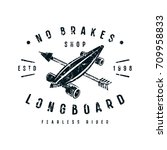 emblem of longboard shop.... | Shutterstock .eps vector #709958833
