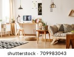 modern loft interior full of... | Shutterstock . vector #709983043