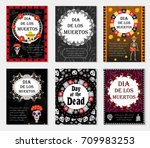 day of the dead set flyer ... | Shutterstock .eps vector #709983253