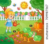 a girl is watering garden bed... | Shutterstock .eps vector #709987567